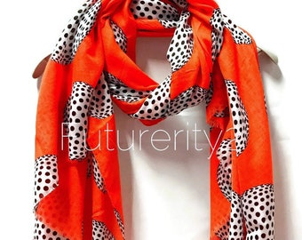 d0680420e Large Circle Bright Orange Scarf/Spring Summer Autumn Scarf/Gifts For  Her/Gifts For Mother/Women Scarves/Handmade Accessories