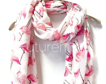 Flamingo White Scarf Spring Summer Autumn Gifts For Her Birthday Women Mother Idea