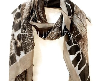 Imprimé léopard avec légère garniture marron foulard printemps été automne  foulard cadeaux pour des cadeaux de maman pour lui   cadeaux Echarpe pour  femme 112db4b5544