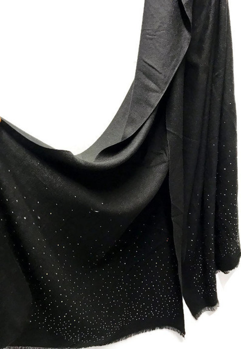 1f824b9da5210 Black Cashmere Scarf With Silver Sparkling Studs/Autumn Winter | Etsy