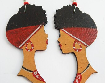 Afro Lady Natural Hair Red Headwrap Black Woman Earrings Diva Jewelry Wooden African American Sterling Silver Large Afrocentric Wood