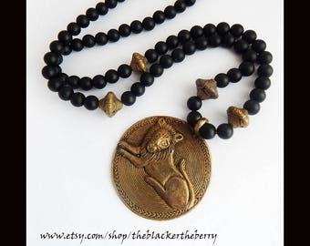 African Lion Necklace Handmade Africa Beaded Fair Trade Black Beaded Neckalces Fathers Day Jewelry  Leo Cats King of Jungle Lions Pendant