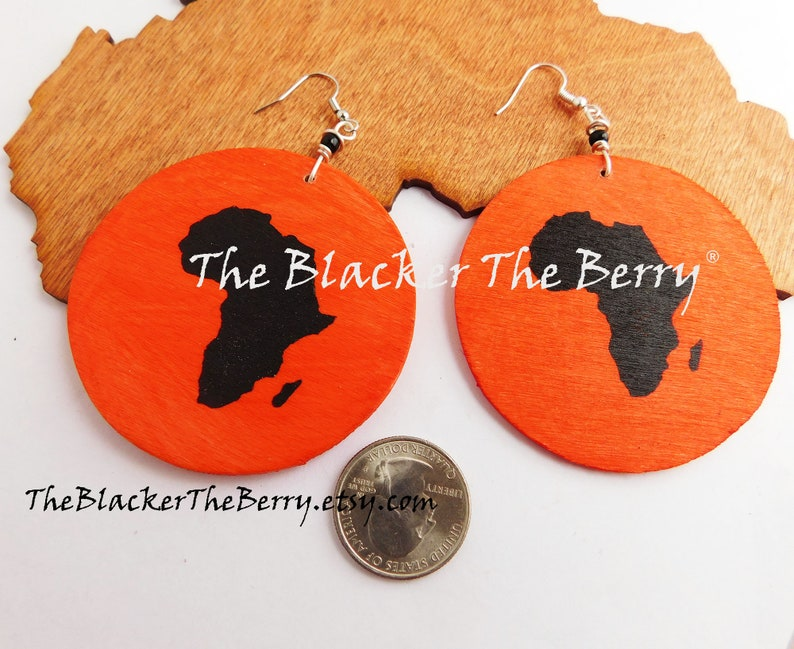 Africa Earrings Wooden Jewelry Orange Black African Afrocentric Motherland Ethnic