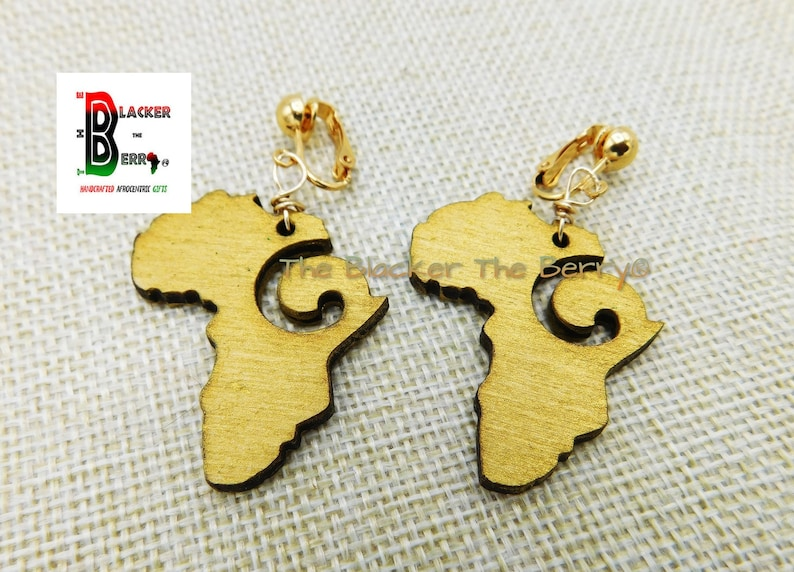Africa Clip On Earrings Gold African Wooden Beaded Jewelry Wood  Map