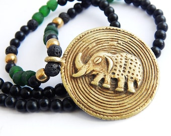 African Elephant Necklace Beaded Jewelry Brass Pendant Black Green African Trade Beads