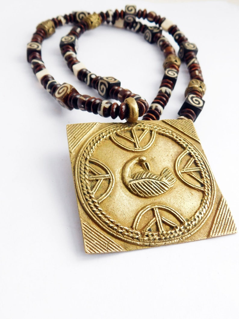 Sankofa Necklace Beaded Jewelry African Ethnic Men Gift Ideas for Him