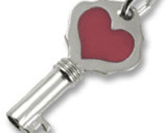 Sterling Silver Key with Red Heart Charm by Rembrandt