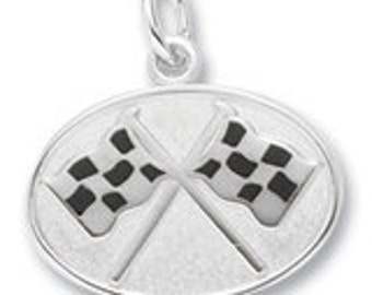 Sterling Silver Flags Crossed Charm by Rembrandt