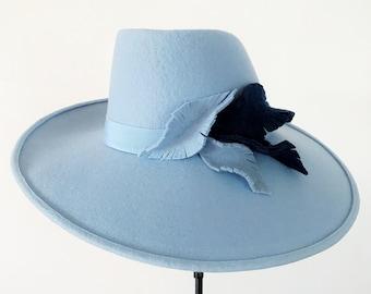 86cbcbdc772c Blue wool felt wide brim Hat