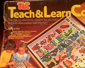Free Ship! 1982 Vintage TEACH & LEARN Interactive Computer Toy TLC by Mattel in Original Box!