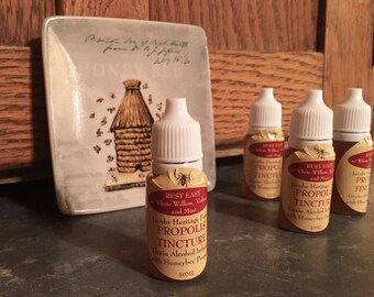 Free Ship! 10 ml Dropper Bottle of PROPOLIS TINCTURE - Amazing Honeybee Medicine from our Farm - Rest Easy Formula w/ Willow, Valerian!
