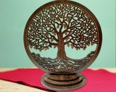 Entangled Tree Of Life Duro Wood w Table Top Stand and w Free Customization
