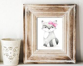 Giclee Art Print - Girly Raccoon Watercolor - Animal Painting Print - Original Art by Angela Weber
