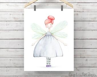Fairy Girl Watercolor Print - Butterfly Girl Print - Original Watercolor Art by Angela Weber - Giclee Art Print