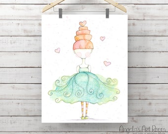 Giclee Art Print - Love to Dance - Print of Watercolor Whimsy Girl Painting - Original Art by Angela Weber