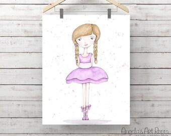 Ballerina Watercolor Print - Giclee Art Print - Little Girl Art - Watercolor Whimsy Girl - Original Art by Angela Weber