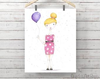 Birthday Girl Watercolor Print - Girl with Balloon - Original Watercolor Art by Angela Weber - Giclee Art Print