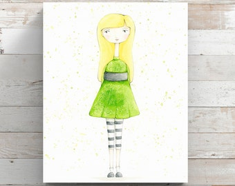 She Loves Green Canvas Print from original watercolor painting - Girl with Green Dress - Wrapped Canvas Print