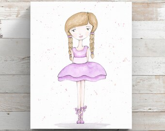 Ballerina Canvas Print from original watercolor painting - Ballet Dancer Art - Wrapped Canvas Print
