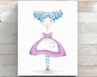 Blue Beauty Canvas Print from original watercolor painting - Girl with apron - Wrapped Canvas Print
