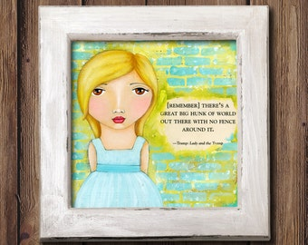 Giclee Art Print - No fence around it - Little Girl - Whimsical Girl Painting Print - Original Art by Angela Weber