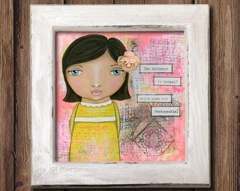 Giclee Art Print - She believed in herself - Little Girl - Whimsical Girl Painting Print - Original Art by Angela Weber