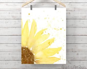 Sunflower Watercolor Print - Yellow Flower - Giclee Print - Original Painting by Angela Weber