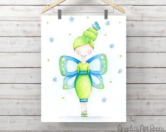 Butterfly Girl Watercolor Print - Little Girl Art - Blue & Green Giclee Print - Original Painting by Angela Weber
