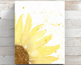 Sunflower Canvas Print from original painting by Angela Weber - Sunflower Watercolor - Flower Art - Wrapped Canvas Print