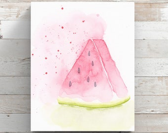 Watermelon Canvas Print from original painting by Angela Weber - Watermelon Fruit Art - Wrapped Canvas Print