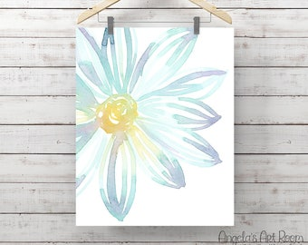 Blue Flower Watercolor Print - Blue & Purple Flower - Giclee Print - Original Painting by Angela Weber