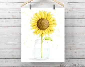 Sunflower in Mason Jar Watercolor Print - Flower Painting - Original Watercolor Art by Angela Weber