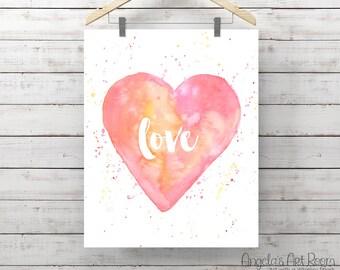 Heart Watercolor Print - Love Painting - Print of Watercolor - Pink Heart - Original Art by Angela Weber