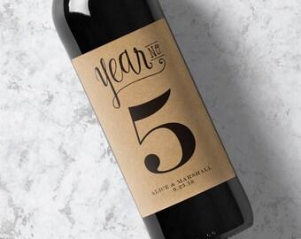 Wedding Wine Labels - Wine Bottle Anniversary Labels - Pack of 4 Labels - Kraft
