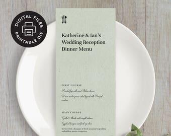 Printable Wedding Menu - Elegant Cutlery - Custom Wedding Menu - Digital File