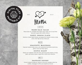 Printable Wedding Menu - Arrow Heart - Custom Wedding Menu - Digital File