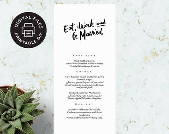 Printable Wedding Menu - Eat, Drink and Be Married