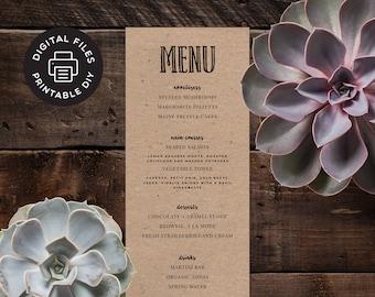 Printable Wedding Menu - Olive Branch - Custom Wedding Menu - Digital File