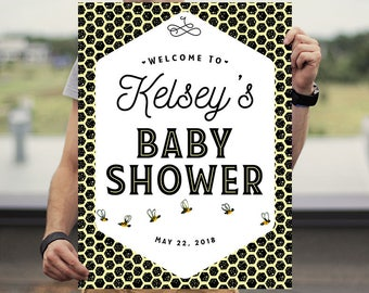Baby Shower Welcome Poster - Baby Shower Welcome Sign -  Baby Shower Poster - Baby Shower Sign - Bee Baby Shower - Honey Baby Shower