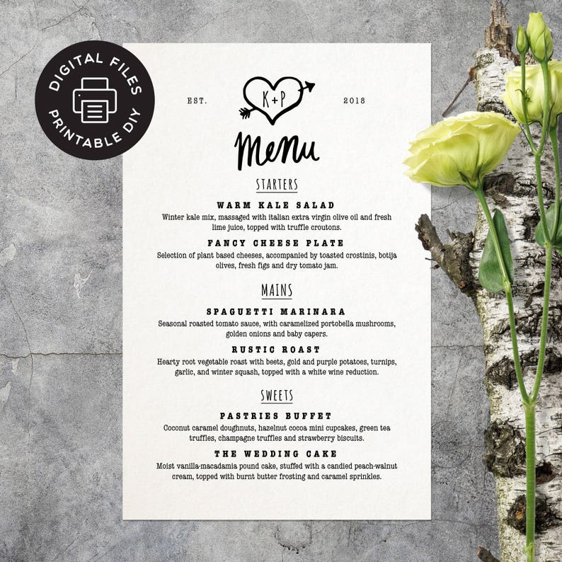 Printable Wedding Menu  Arrow Heart  Custom Wedding Menu  image 0