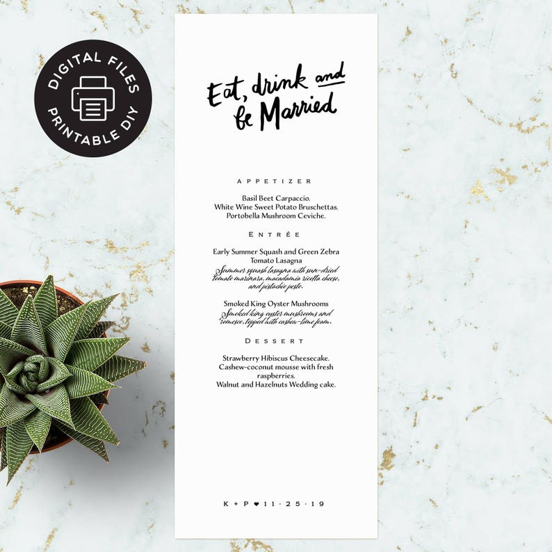 Printable Wedding Menu  Eat Drink and Be Married image 0