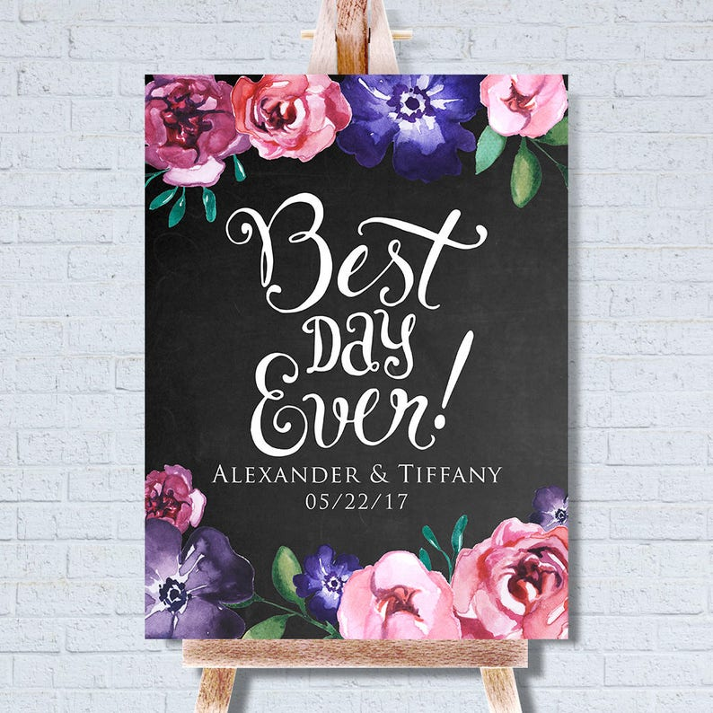 Wedding Welcome Poster  Printed Wedding Welcome Sign  Chalk image 0
