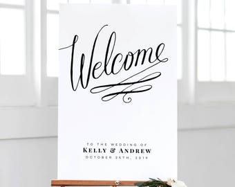 Wedding Welcome Sign - Wedding Welcome Poster - Printed Wedding Welcome Sign - Swirl