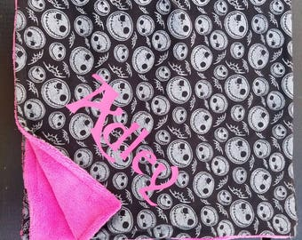 nightmare before christmas baby blanket bib burp cloth jack skellington halloween dead sally tim burton cartoon bone