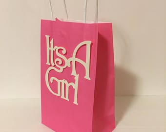 Its a Girl, Baby shower gift bags, baby shower loot bags, swag bags, gender reveal loot bags, party favors, thank you gifts, prize bags