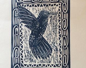 Hummingbird Linoleum Print