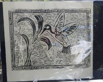 Day of the Dead Humming Bird Linoleum Print 12x9