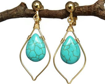Turquoise Marquise Teardrop Dangling Earrings Silver Gold Clip Ons Lever Backs Hooks Posts Wire Wrapped Dangle Tear Drop Gift Teacher Mother