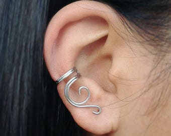 Ear Cuff Sterling Silver Non-Pierced Ear Cartilage Earring Vines Wire Earcuff Gift Daughters Sisters Nieces Friend Eclectic Minimalist Woman