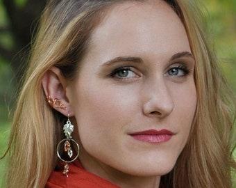 Leaves Hoop Earrings Dangle Silver Copper Autumn Gift Beaded Boho Chic Gift Teacher Daughter in Law Sister Wife Girl Friend Bridal Mom